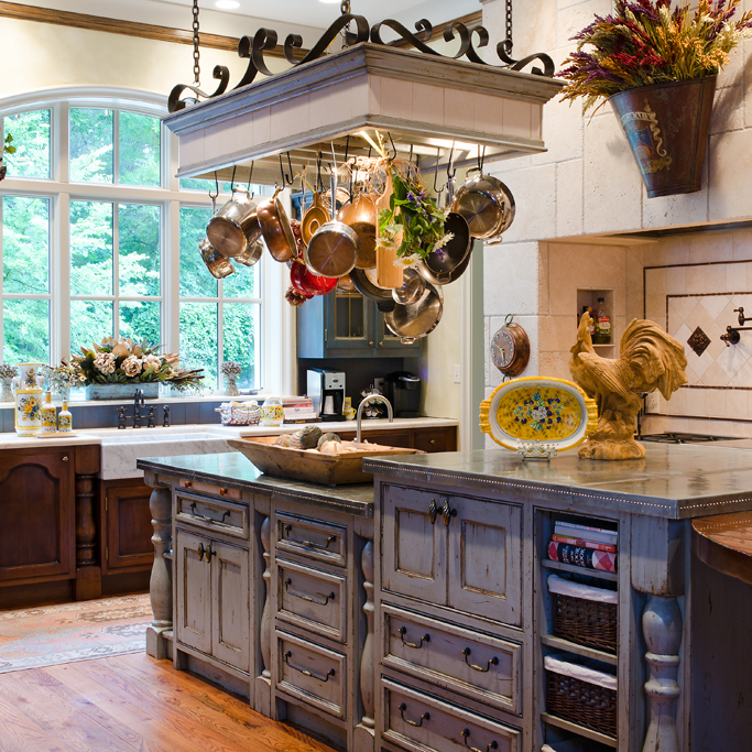 A very large kitchen retains a cozy feel