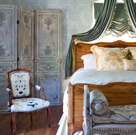 French Country Blue Bedroom vignette