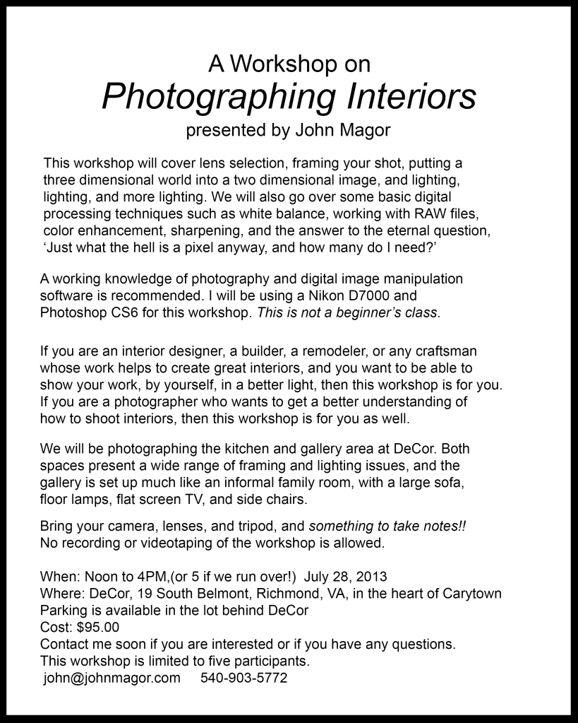 Interior workshop flyer