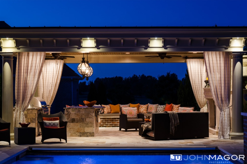 Poolside Cabana with fireplace, outdoor kitchen,