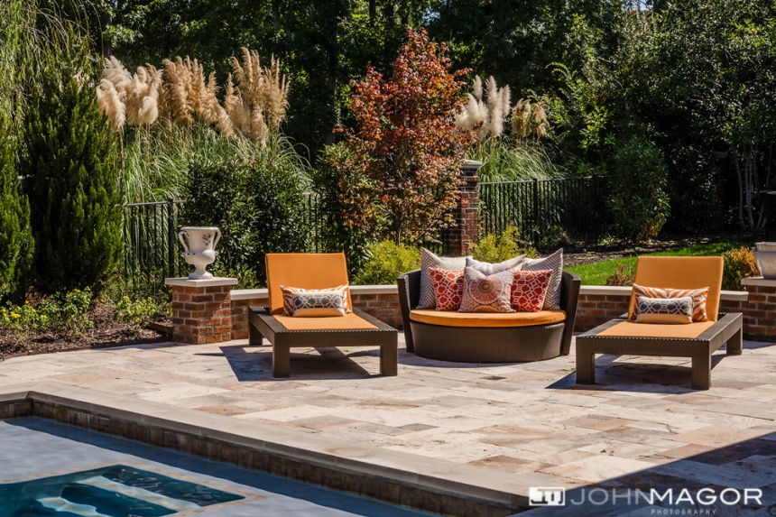 Comfy poolside seating